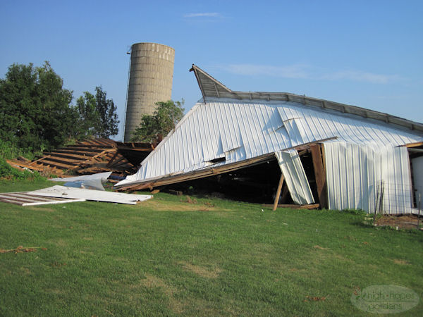 destroyed barn
