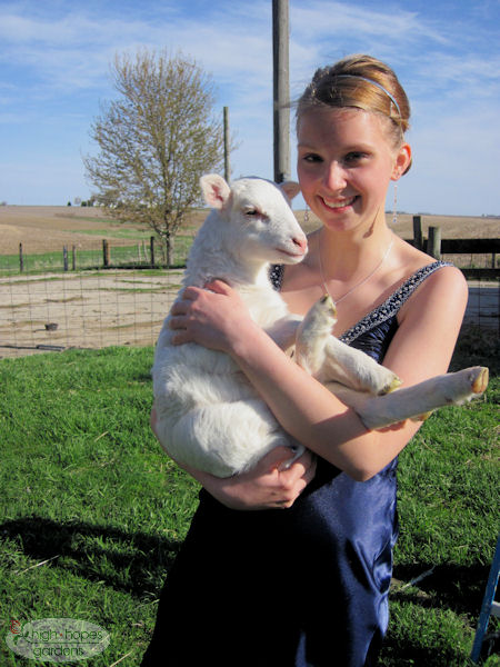 prom dress with lamb