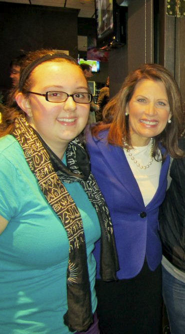 michelle bachmann iowa, michelle bachman with student