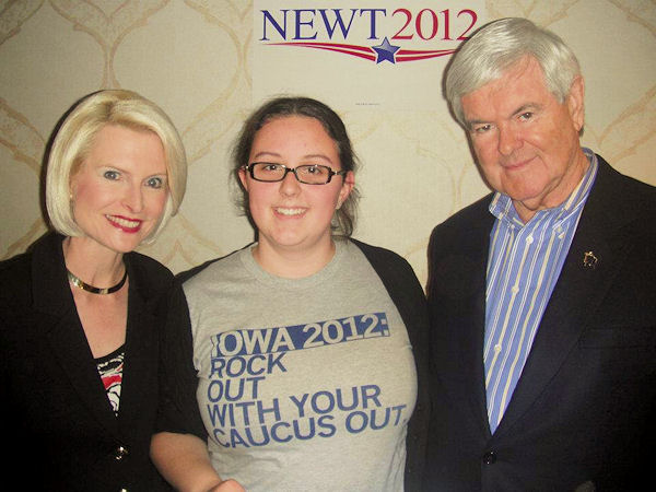 newt gingrich iowa, newt and callista gingrich, rock with your caucus out, student with gingrich