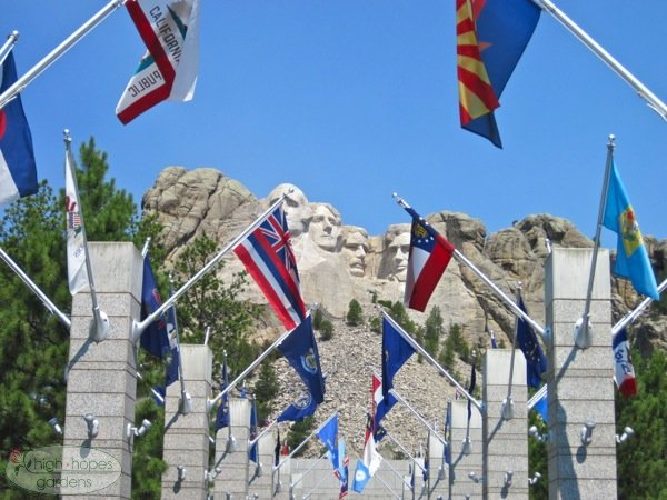 mount rushmore, mount rushmore flags
