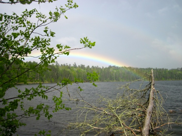 rainbow on lake itasca